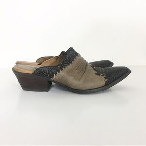 Ariat Taupe & Black Leather Pointed Toe Mules